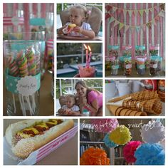 Sweet shoppe party on a budget (I love all the ideas on here, including the hot dogs)