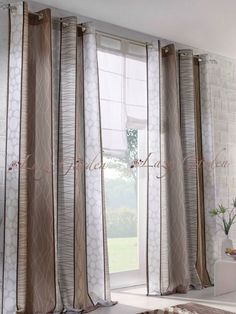 Schon European Style, Pattern Printed, Eyelet Window Curtains For Living Room,  Grey/brown