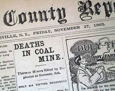 Old Newspaper BONANZA AR Arkansas Coal Mine No. 20 EXPLOSION