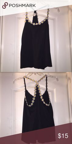Sunflower strapped top Black with sunflowers attached to the strings front and back!! LA Hearts Tops Tank Tops