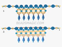 Free pattern for beaded necklace Turquoise & Pearls | Beads Magic