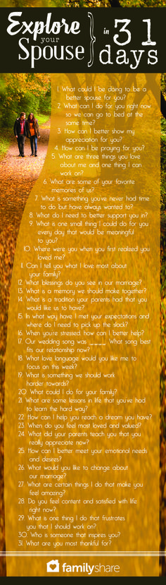 A question a day keeps divorce away.- not just married but I think these are just some great questions to ask in a relationship, period. Godly Marriage, Marriage Relationship, Marriage And Family, Better Relationship, Young Marriage Quotes, Christian Marriage Advice, Long Distance Relationship Questions, Long Distance Marriage, Relationship Repair