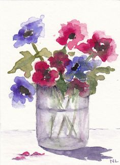 ACEO Miniature Card Original Watercolour - Purple and Pink in a Jar - Flowers