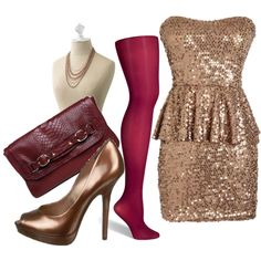 With Thanksgiving tomorrow, the other big days to celebrate this year aren't far away! Nothing says party time like a strapless peplum dress—it's the season's hottest silhouette. Add a classic pair of pumps & bright tights with a cascade of jewels & a killer clutch. Maximize the use of your dress & wear it for your next fete… just change your shoes, tights & accessories & viola… a perfectly new party look!