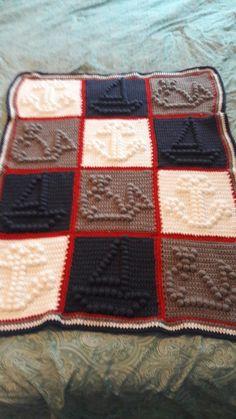 Crochet Baby boy bobble stitch blanket, nautical themed