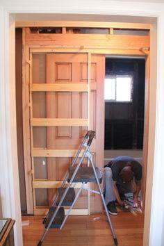 22 Ideas Diy Bathroom Closet Walks For 2019 Bathroom Closet, Bathroom Doors, Master Closet, Bathroom Pocket Door, Home Renovation, Home Remodeling, Big Bathrooms, Small Bathroom, Pocket Doors