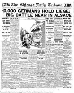 Aug. 10, 1914: 10,000 Germans hold Liege; big battle near in Alsace.