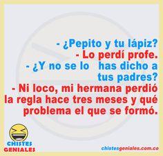 Chistes Geniales – Chistes geniales para reír hasta mas no poder. Old Man Jokes, Pepito Jokes, Best Funny Jokes, Funny Videos, Funny Taglines, Funny Humour