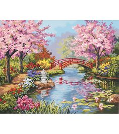 Japanese Embroidery Tiger Dimensions Paint By Number Kit-Japanese Garden - Size: pre-printed textured art board, high-quality acrylic paints, a paint brush Japanese Garden Backyard, Japanese Garden Landscape, Japan Garden, Japanese Garden Design, Simple Oil Painting, Diy Painting, Painting & Drawing, Garden Drawing, Garden Painting