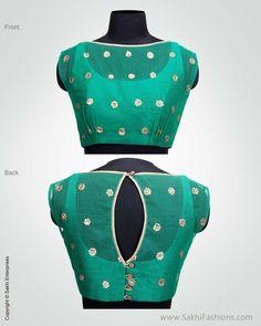 Green Banarsi Silk Designer Blouse   Sakhi Fashions   Sakhi Fashions