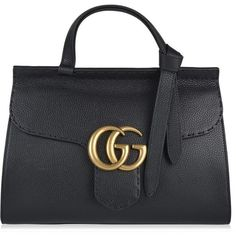 Gucci Marmont Gg Tote (€1.595) ❤ liked on Polyvore featuring bags, handbags, tote bags, black, structured tote bag, genuine leather handbags, structured leather tote, leather handbag tote and leather tote handbags