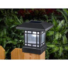 Westinghouse Solar 20 Lumens 44 Post Light for Wood Posts (Black 4 Pack) - Black Lights - Ideas of Black Lights Black Light App, Fence Post Caps, Solar Powered Lamp, Wood Post, Backyard Landscaping, Landscape Design, 4x4, Gazebo, Black Lights