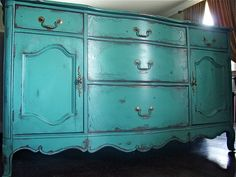 French Provincial buffet in an antiqued teal green by Artisan8, $895.00
