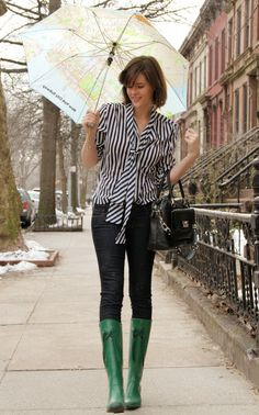 striped blouse and cute rain boots Rainy Outfit, Rainy Day Outfit For Spring, Cute Rainy Day Outfits, Rainy Day Fashion, Spring Outfits, Outfit Of The Day, Green Rain Boots, Cute Rain Boots, Style