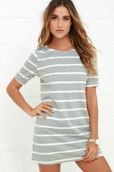 Lines of Symmetry Ivory and Grey Striped Dress at Lulus.com!