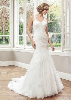 FABULOUS TULLE V-NECK NATURAL WAISTLINE MERMAID WEDDING DRESS WITH BEADED LACE APPLIQUES IVORY WHITE LACE BRIDAL GOWN