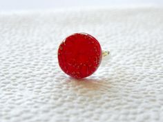 Ceramic Ring Small Round Red Flower Pattern Silver by Ceraminic, $9.99
