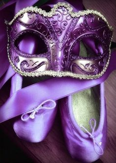 Purple mask and ballet slippers