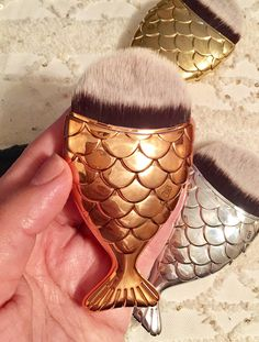 Chubby Mermaid Goldfish Foundation Makeup Brush for Contouring, foundation, blush, and applying liquid creams (Rose gold) #affiliate
