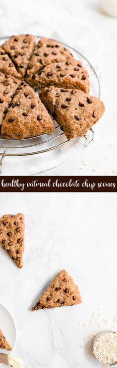 Healthy Oatmeal Chocolate Chip Scones – ready in 30 minutes like eating oatmeal cookies for breakfast! They're SO moist tender! Healthy Dessert Recipes, Healthy Baking, Healthy Desserts, Baking Recipes, Snack Recipes, Clean Recipes, Cookie Recipes, Oatmeal Recipes, Healthy Breakfasts