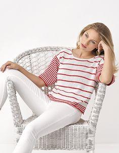 Revista mujer Chic 93 Primavera / Verano   52: Mujer Jersey   Blanco / Rojo