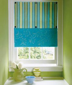 Blue and green window shade - like the look for a kitchen or possibly bathroom