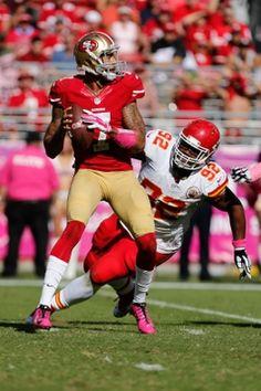 Kansas City Chiefs nose tackle Dontari Poe, San Francisco 49ers quarterback Colin Kaepernick