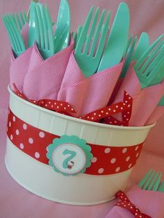 colored utensils with a different color napkin.