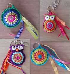 "diy_crafts-CreaTinie: januari 2014 ""Keychains - such cute gifts (no pattern, just the idea) would be fun for kids backpacks"" Crochet Gifts, Crochet Yarn, Crochet Flowers, Crochet Toys, Crochet Leaf Patterns, Crochet Keychain Pattern, Simply Crochet, Crochet Accessories, Crochet Projects"