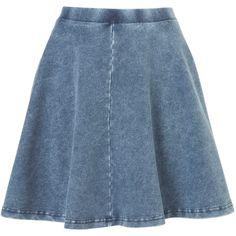 TOPSHOP Denim Skater Skirt ($30) ❤ liked on Polyvore featuring skirts, mini skirts, bottoms, denim, topshop, blue, blue denim mini skirt, denim skater skirt, blue mini skirt and blue denim skirt