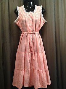 Vintage-1970s-Dress-Prairie-Gypsy-Festival-Hippie-Gingham-PINK-Women-039-s-LARGE
