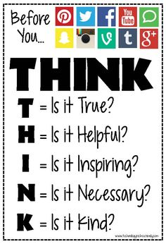 This is a poster that teachers can place in their classrooms as a reminder to students to think before they post or share anything digitally online. Resources like this one can help promote digital citizenship at school. Technology Posters, Educational Technology, Teaching Technology, Think Poster, Think Before You Post, Social Media Safety, Cyber Safety, Web Safety, Internet Safety