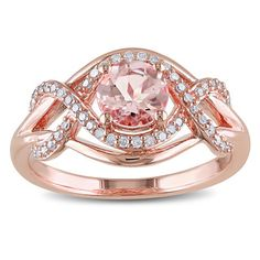 Miadora Rose Plated Silver Morganite and 1/5ct TDW Diamond Ring (H-I, I2-I3) with Bonus Earrings | Overstock™ Shopping - Top Rated Miadora Gemstone Rings