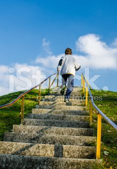 Running Up Outdoor Stairs On a Hill royalty-free stock photo