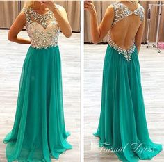Turquoise Green Prom Dress with Crystals and Stones Open Back