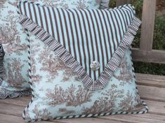 French Country  Pillow Cover Aqua Toile by ComfortsofHomeDecor, $52.00  hey guys, I know not the  tolie part but other 2 fabrics are countyish