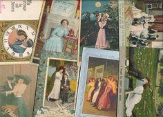 Huge Lot of Vintage ROMANTIC LOVERS old romance Greetings Postcards -ddd346