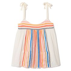 So pretty and feminine, this rainbow-stripe tie-strap camisole is hand-woven in the softest summer-weight cotton with two patch pockets positioned along the...