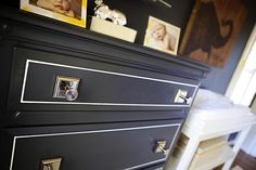 paint thin white lines on drawer fronts for office cabinet?