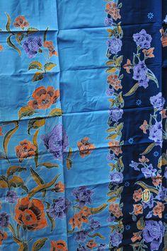 Hand drawn Malaysian Batik Sarong Light/Deep Blue by MonsoonBNC Malaysian Batik, Textile Patterns, Textiles, Batik Art, Islamic Fashion, Pattern Paper, Deep Blue, Flower Art, Hand Drawn