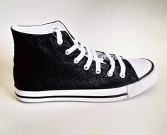 Custom shoes Black shoes Bling shoes Glitter shoes Party shoes Prom shoes Hi top sneakers Glitter sneakers Black glitter sneakers Lace up by Route66VS on Etsy