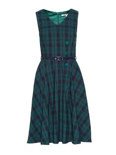 For the lovers of a statement check, the Emily Check Dress is too-die for in this chic green and navy coloured check design. You are guaranteed to feel like a fashionista whilst wearing this knowing you are embracing the latest trend! The dress is finished with fun asymmetrical green buttons down the front and a navy thin belt to cinch in the waist. The A-line skirt falls to knee length, while a V-neckline creates a flattering and feminine silhouette.