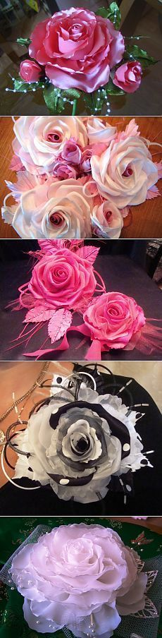 Creative Expressions ORGANZA RIBBON ROSES  8 pieces BLACK RR-008