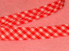 Red Gingham Bias Tape Single Fold 1/2 inch wide