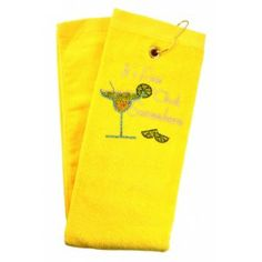 It's 5 o'clock Somewhere Yellow crystal terry cloth golf towel