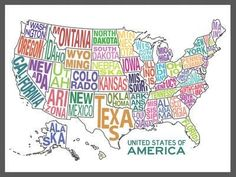 United States of America Stylized Text Map Colorful Art Print United States Map, 50 States, States America, North America, Framed Artwork, Wall Art, State Map, Print Store, My New Room