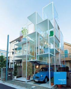 all glass house in tokyo by sou fujimoto. there are no stairs, rather a series of platforms you ascend.