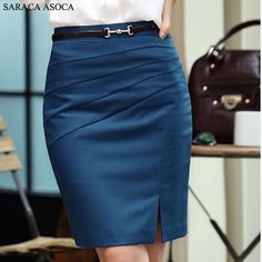 Cheap work skirts, Buy Quality straight skirt directly from China fashion skirt Suppliers: Spring Summer Autumn Fashion Work Skirts Women's Solid Color Slim Hip Middle Waist Straight Skirt For Girls Blue Fashion, African Fashion, Fashion Outfits, Color Fashion, China Fashion, Style Fashion, Work Skirts, Cute Skirts, Autumn Fashion Work