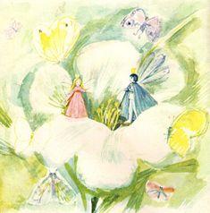 Thumbelina, illustrated by Natalia Basmanova Book Illustration, Botanical Illustration, Japanese Kids, Andersen's Fairy Tales, Cute Fairy, Fairytale Art, Beautiful Fairies, Linocut Prints, Asian Art