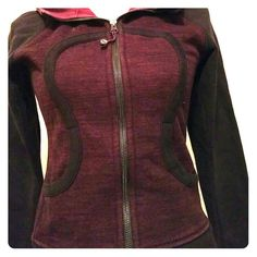 Lululemon burgundy jacket In excellent new like condition heavyweight jacket with hoodie. Two side pockets. Burgundy/black lululemon athletica Jackets & Coats
